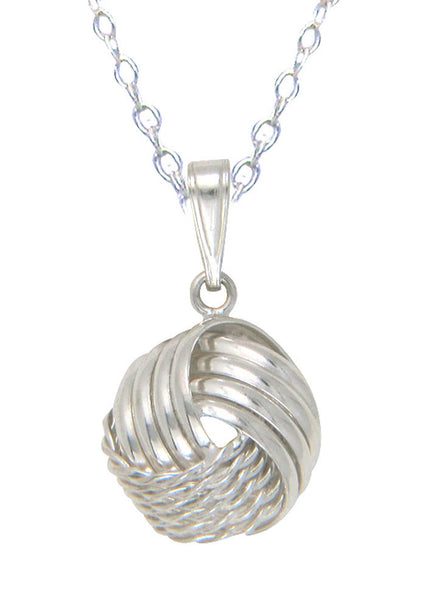 Rope Style Love Knot Silver Necklace - Sterling Silver - Online India LeCalla