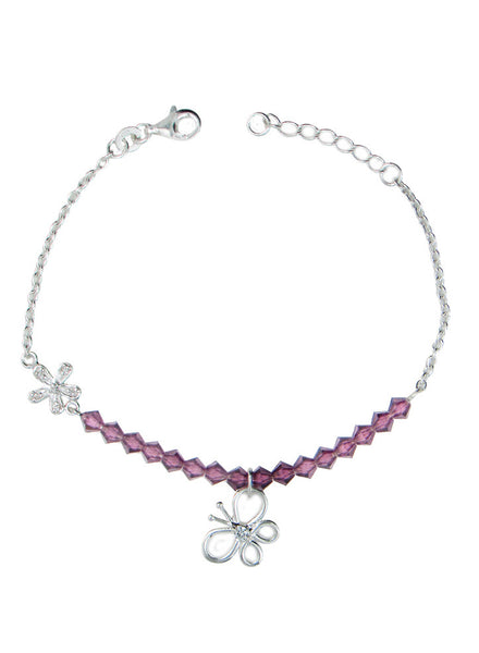 Purple Bead Butterfly Charm String Bracelet - Sterling Silver - LeCalla