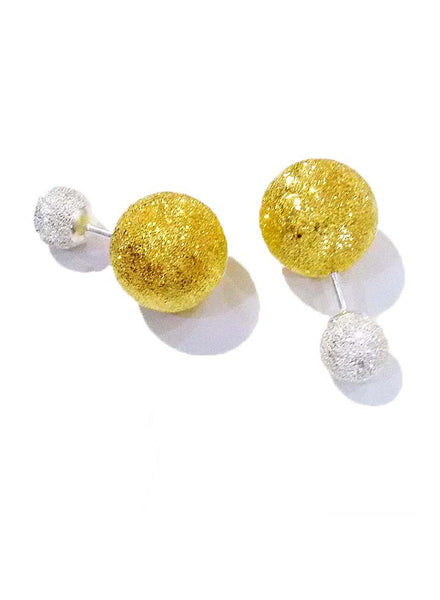 Glittering Ball Post Trendy Silver Stud Earrings - Sterling Silver - LeCalla
