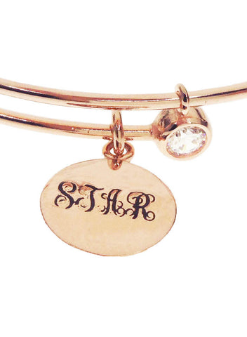 Sterling Silver Personalized Monogram Bangle - LeCalla