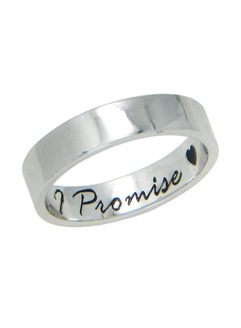 Engraved Love Promise Silver Band Ring for Gifting - Sterling Silver - LeCalla