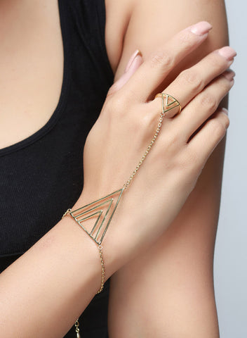 Cuff Ring Hand Harness - Brass - LeCalla