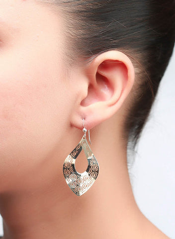 Gold Lace Dangler Earrings - Sterling Silver - LeCalla