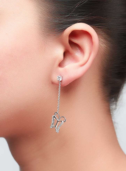 Butterfly Drop Dangler Earrings - Sterling Silver - LeCalla
