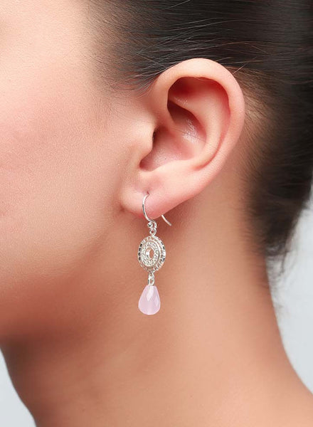 Pink Drop Dangler Earrings - Sterling Silver - LeCalla
