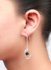 Black Centered Dangler Earrings - Sterling Silver - LeCalla