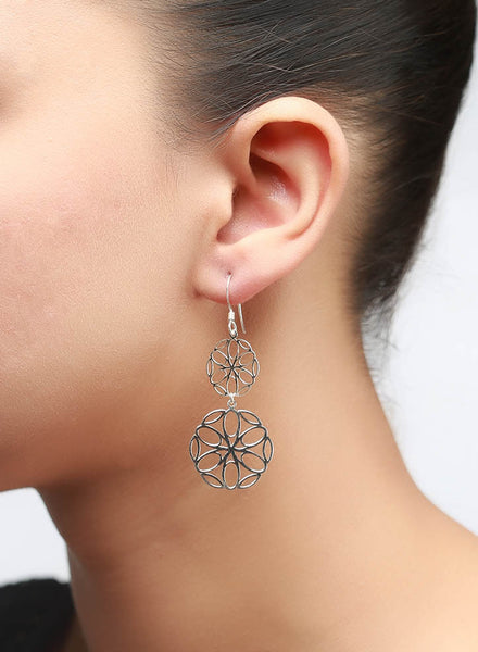 Zeroed Laser Cut Dangler Earring - Sterling Silver - LeCalla