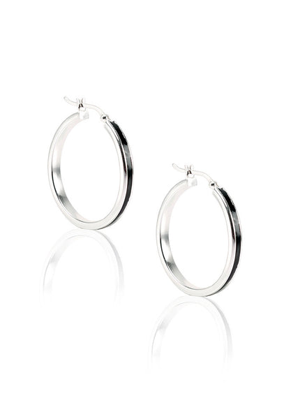 Black Enameled Hoop Earring - Sterling Silver - LeCalla