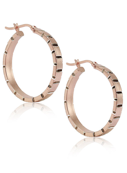 Cut Work Round Hoop Earrings - Sterling Silver - LeCalla.in