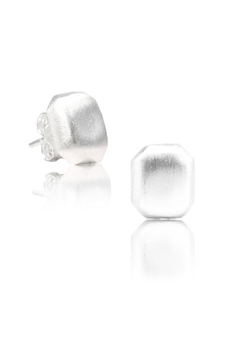 Alluring Matt Silver Stud Earrings - Sterling Silver - LeCalla