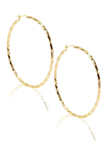 Classic Gold Hoop Earrings - Sterling Silver - LeCalla