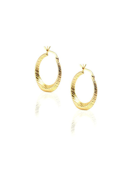 Textured Gold Hoop Earring - Sterling Silver - LeCalla