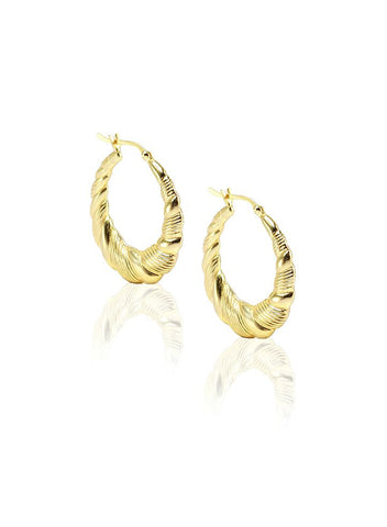 Contemporary Gold Hoop Earrings - Sterling Silver - LeCalla