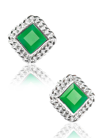 Green Delight Stud Earrings - Sterling Silver - LeCalla