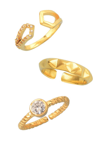 Triple Delight Midi Ring Set - Trendy Jewelry - LeCalla