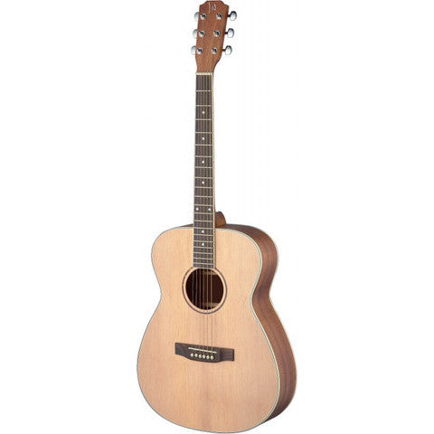 James Neligan Asyla series mini auditorium acoustic travel guitar with solid spruce top, lefthanded model
