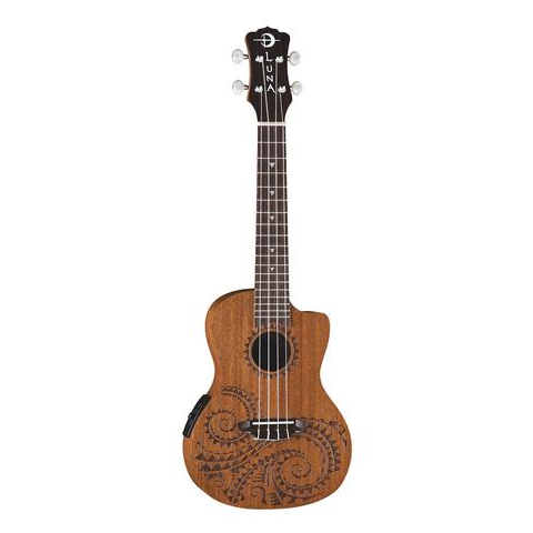 Luna Concert Ukulele TEC MAH with Tattoo Lazer Etched Design