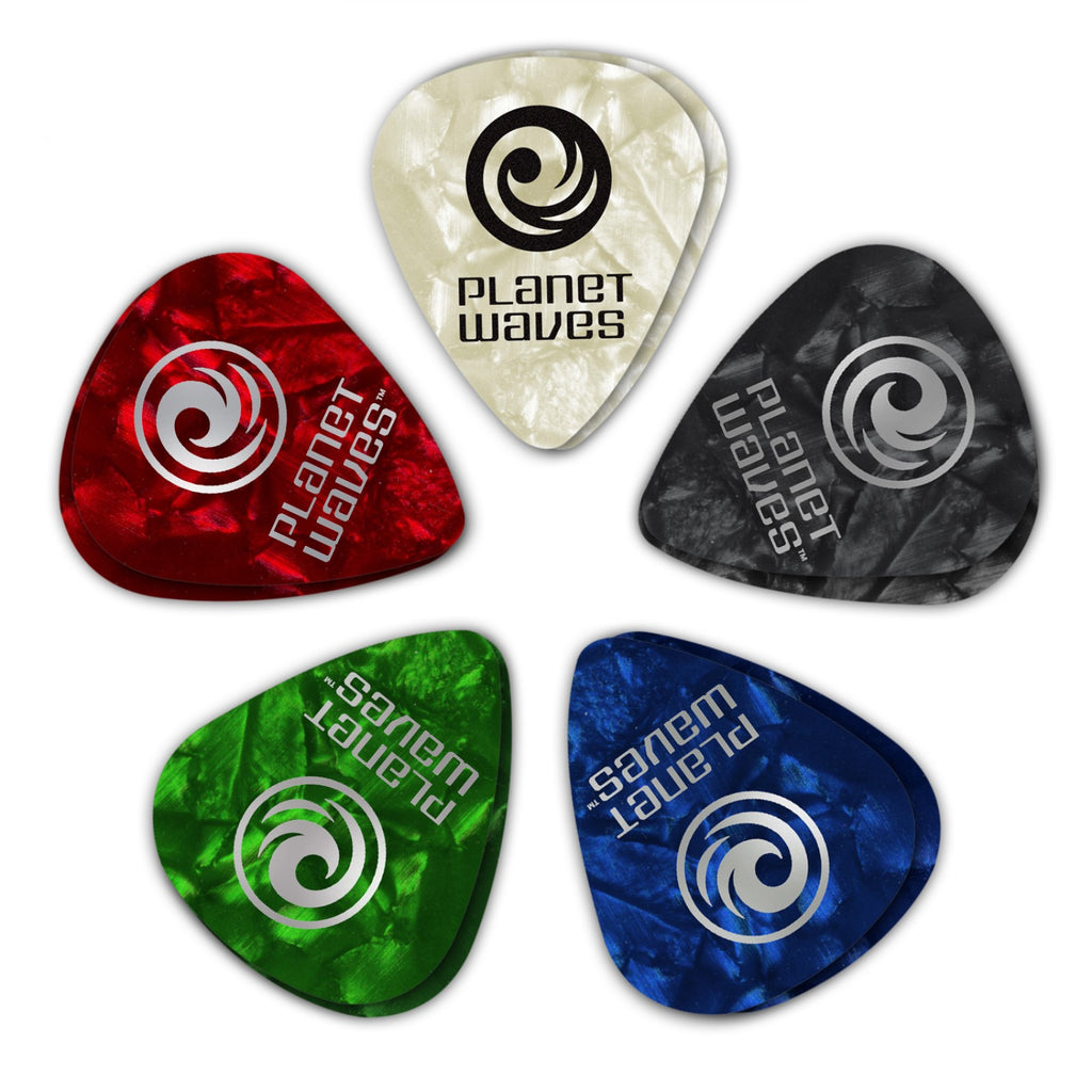 Planet Waves Assorted Pearl Celluloid Guitar Picks  1CAP6-10 10 pack, Heavy