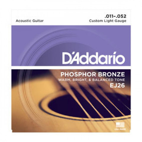 D'Addario  Phosphor Bronze Acoustic Guitar Strings  EJ26  Custom Light, 11-52