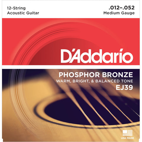 D'Addario 12-String Phosphor Bronze Acoustic Guitar Strings  EJ39 Medium, 12-52