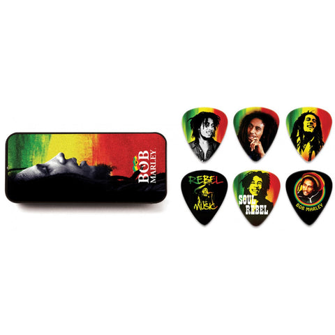 Dunlop BOB MARLEY RASTA PICK TIN  BOBPT02H HEAVY (6 PICKS)