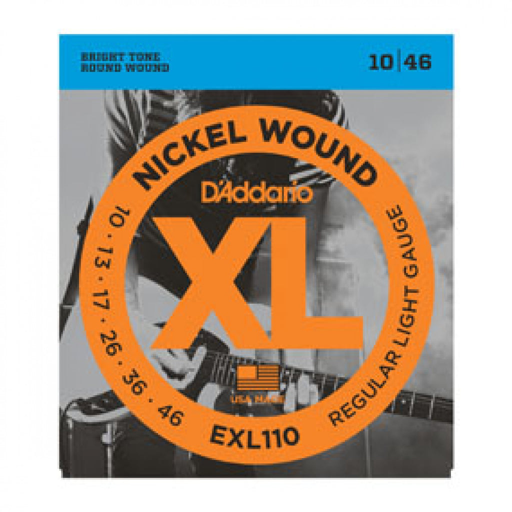 D'Addario Nickel Wound Electric Guitar Strings,   EXL110 Regular Light, 10-46