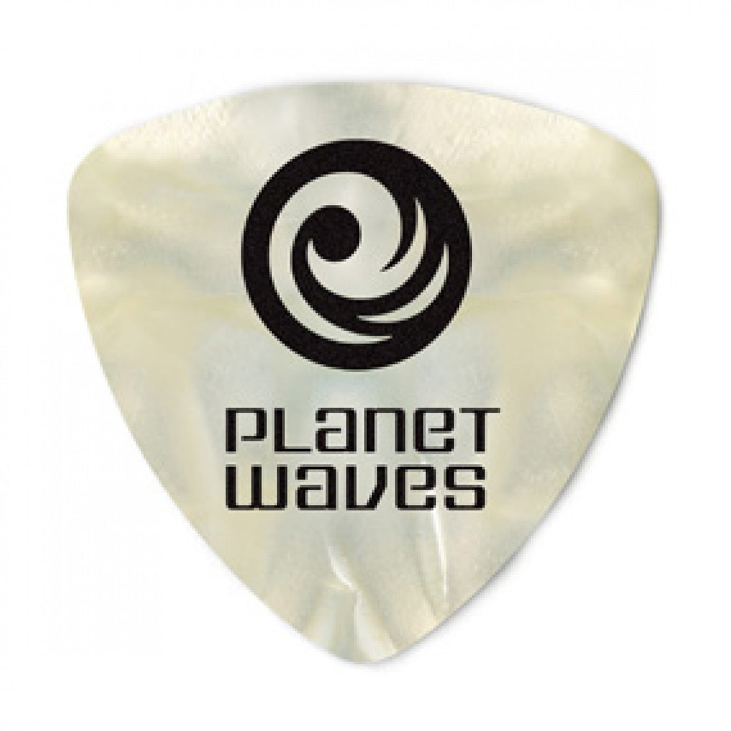 Planet Waves White Pearl Celluloid Guitar Picks  2CWP2-10  10 pack, Light, Wide Shape