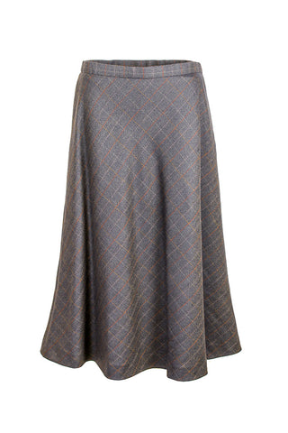 Rachele | Blue and camel checked long skirt
