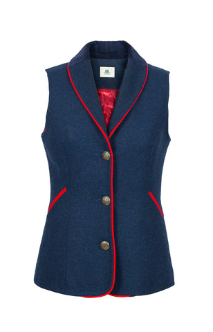Navy Waistcoat with Red Trim
