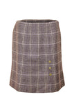 Sylvie | Soft brown checked skirt