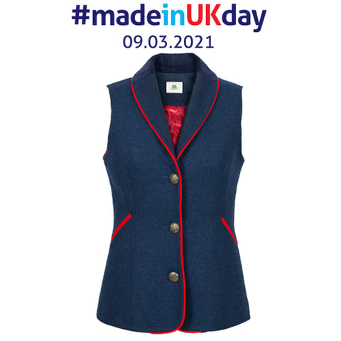 Chloe | British Blue waistcoat with red trim & quilted lining