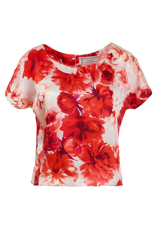 Bright Rose Printed Silk Top