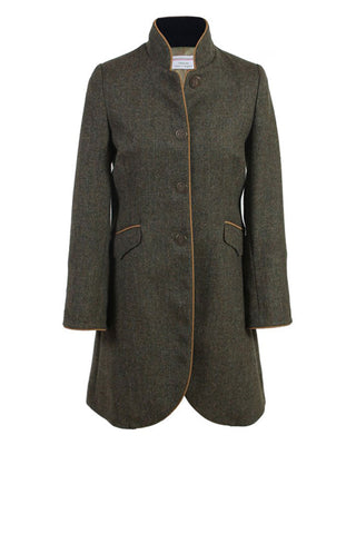 Panache | Green Herringbone Coat with tan trim