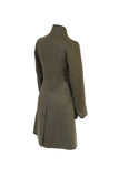Olive Herringbone Coat Back