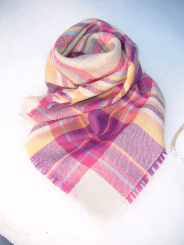 Pink Check Merino Wool Scarf