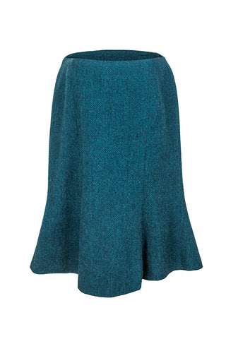 Mia | Tweed Herringbone Deep Turquoise Skirt