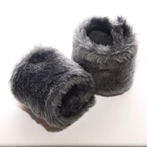 Grey Faux Fur Wristwarmers