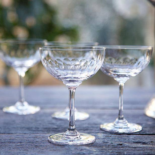 Crystal Champagne Saucers (Pair)-Kitchen & Dining-The Vintage List-Brassica Mercantile