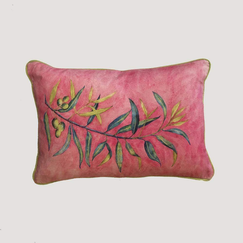 Digital Watercolour Cushions by Angela Chidgey-Textiles-Angela Chidgey-Olive Branch-Brassica Mercantile