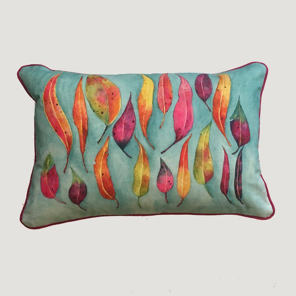 Digital Watercolour Cushions by Angela Chidgey-Textiles-Angela Chidgey-Eucalyptus Leaves-Brassica Mercantile