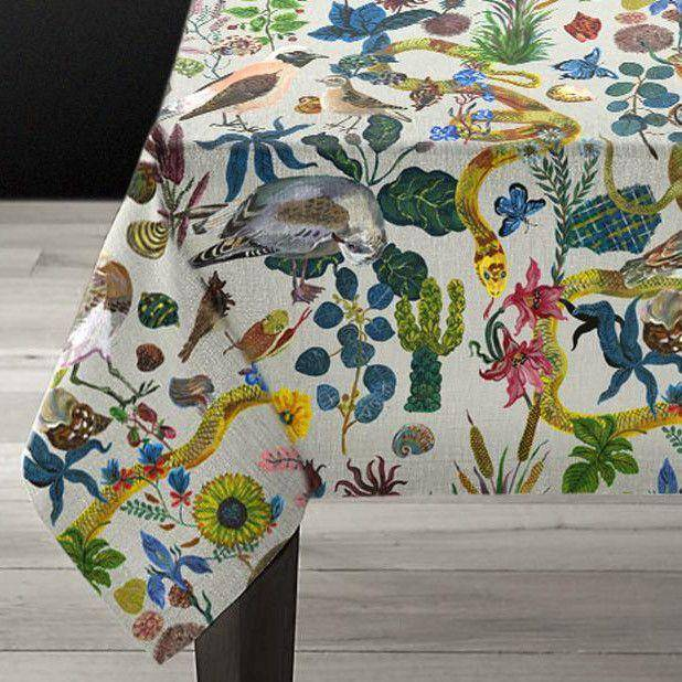 Nathalie Lété Birds In The Dunes Linens-Textiles-Avenida Home-Tablecloth-Brassica Mercantile