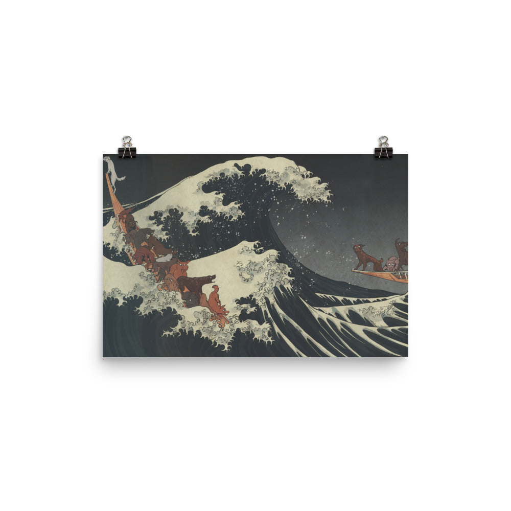 The Great Wave Off Isle Of Dogs Poster