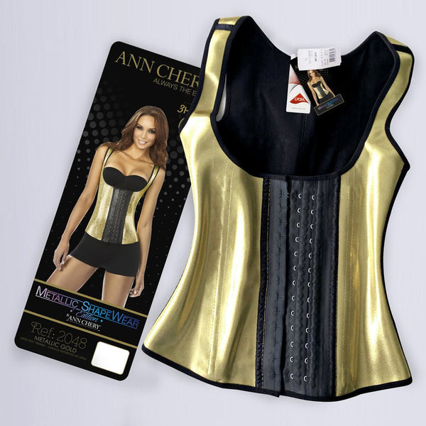Ann Chery 2048 Metallic Gold 3 Hooks Latex Waist Cincher Vest