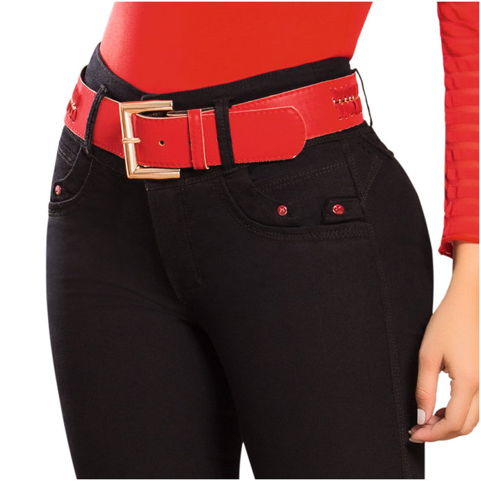 DRAXY 1334 Colombian Mid Rise Skinny Jeans With Belt - SS