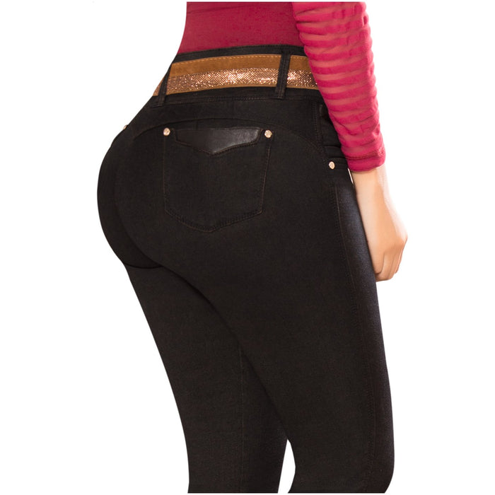 DRAXY 1335 Colombian Mid Rise Butt Lifter Skinny Jeans with Belt - SS