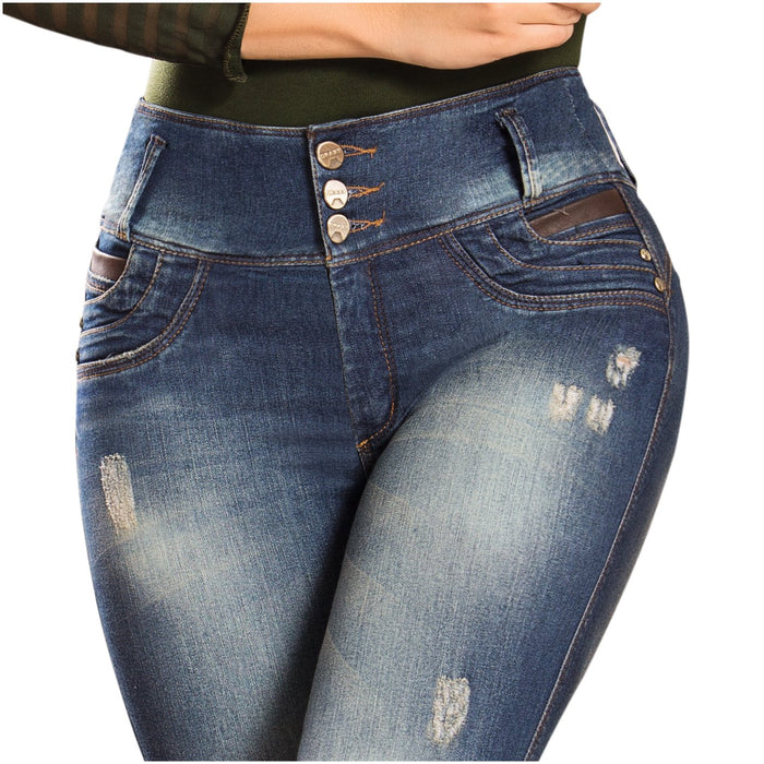 DRAXY 1336 Colombian Mid Rise Skinny Jeans Ripped Details - SS