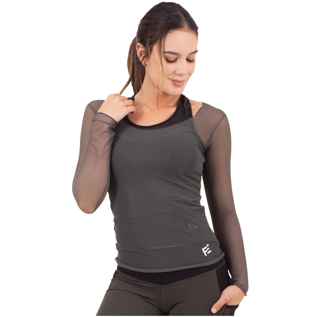 FLEXMEE 934000 Marble See-Through Shirt For Women | Lycra - Shapes Secrets