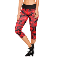 Flexmee 944212 Red Fractals Capri Activewear Workout Pants Trousers