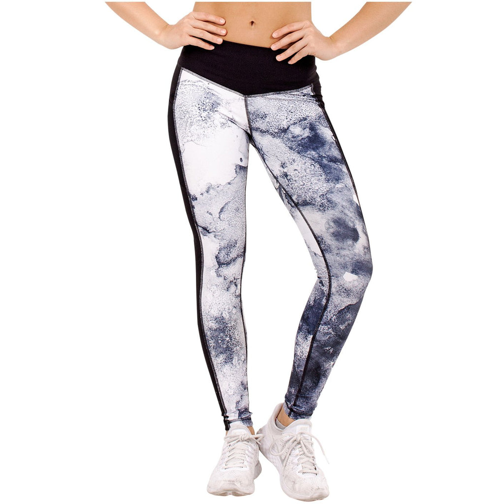 FLEXMEE 946071 Marble Sublimated Mid Rise Leggings With Pockets | Microfiber - Shapes Secrets