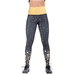 FLEXMEE 946077 Luxury Golden Sublimated Mid Rise Leggings | Microfiber - Shapes Secrets